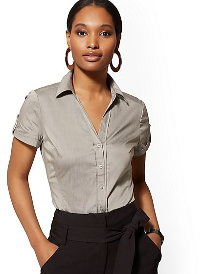 Petite Short-Sleeve Madison Stretch Shirt - 7th Avenue - New York & Company