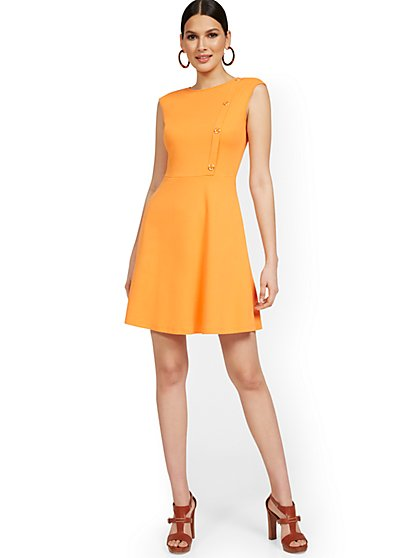 Petite Side-Button Flare Dress - City Knits - New York & Company