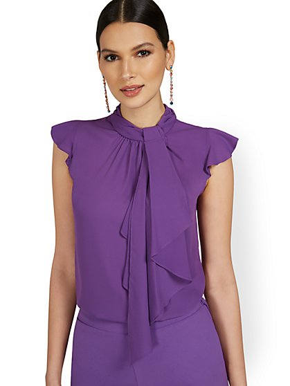 Petite Sleeveless Knot-Neck Ruffle Blouse - New York & Company