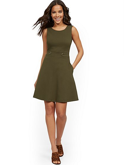 Petite Sleeveless Two-Button Fit and Flare Dress - City Knits - New York & Company