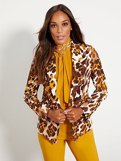 Petite Soft Madie Blazer - Leopard Print - 7th Avenue - New York & Company