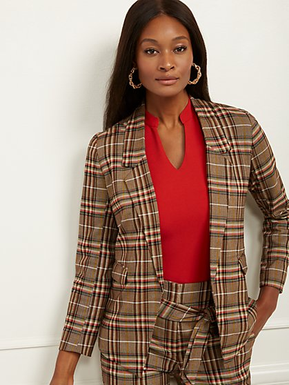 Petite Soft Madie Blazer - Plaid - New York & Company