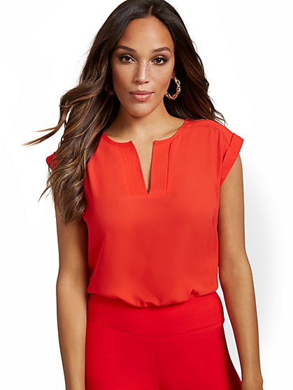 Petite Split-Neck Blouse - 7th Avenue - New York & Company