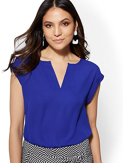 Petite Split-Neck Blouse - New York & Company