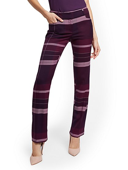 Petite Straight Leg Pant - Modern Fit - Purple Plaid - 7th Avenue - New York & Company