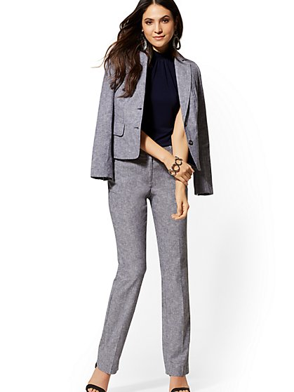 Petite Straight-Leg Pant - SIgnature Fit - City Stretch Linen Flex - 7th Avenue - New York & Company