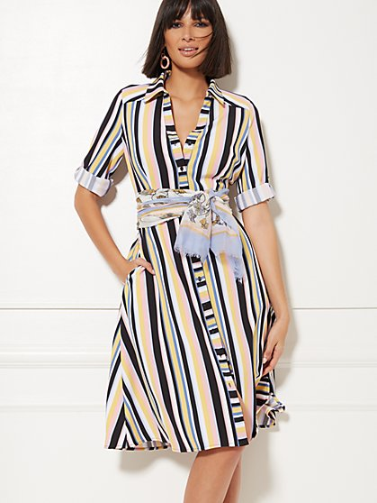 Petite Stripe Belted Shirtdress - New York & Company