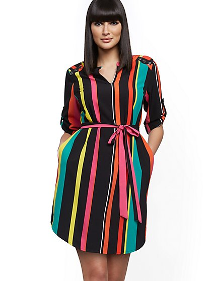 Petite Stripe Button-Accent Shirtdress - New York & Company
