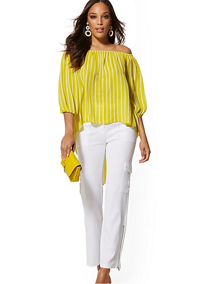 Petite Stripe Off-The-Shoulder Hi-Lo Blouse - New York & Company