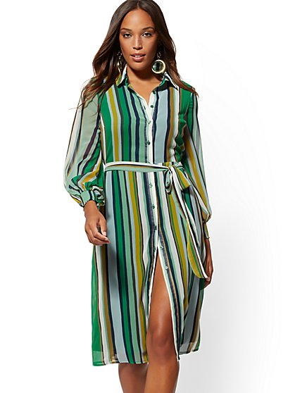 Petite Stripe Shirtdress - New York & Company