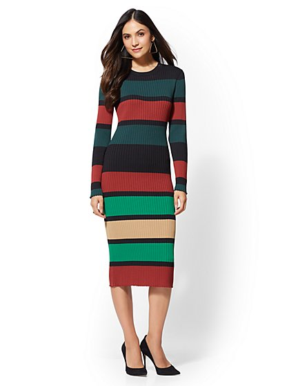 Petite Stripe Sweater Dress - New York & Company