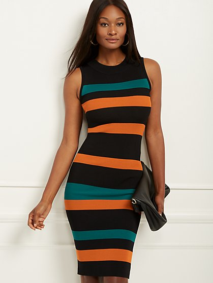 Petite Stripe Sweater Sheath Dress - New York & Company