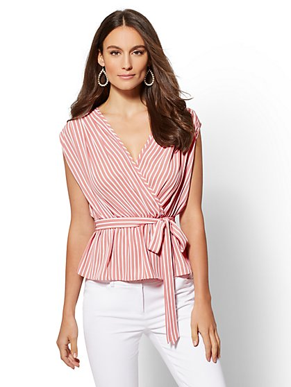 Petite Stripe Tie-Front Wrap Blouse - New York & Company