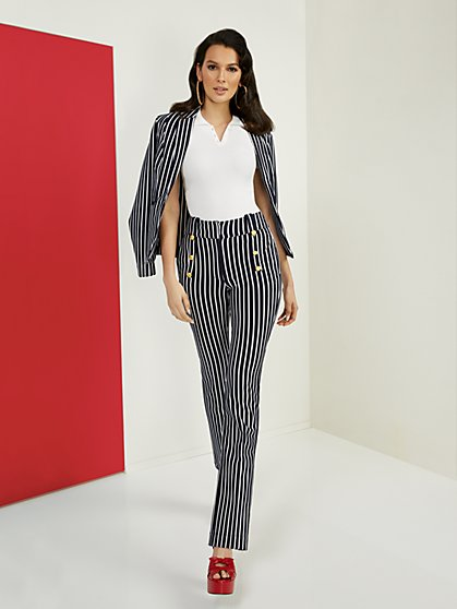 Petite Striped High-Waisted Barely Bootcut Pant - Superflex - New York & Company