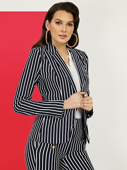 Petite Striped Ponte Jacket - Superflex - New York & Company