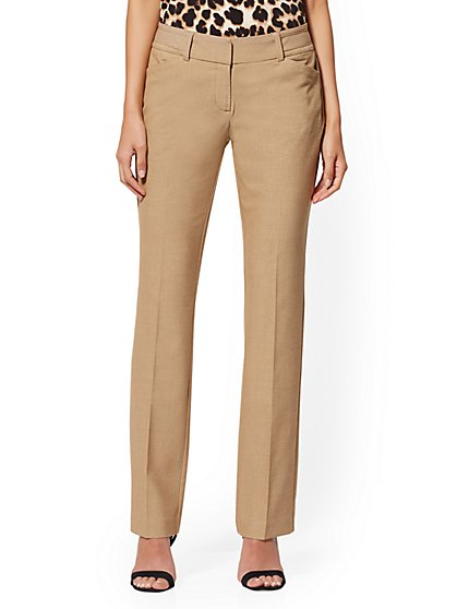 Petite Tan Straight-Leg Pant - Signature - SuperStretch - 7th Avenue - New York & Company