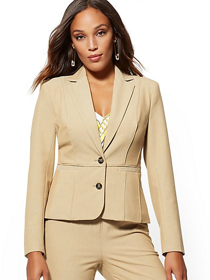 Petite Tan Two-Button Piped Jacket - Superstretch - 7th Avenue - New York & Company