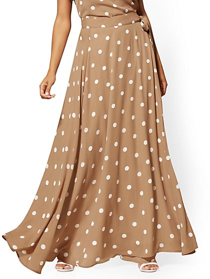 Petite Taupe Dot-Print Maxi Skirt - New York & Company