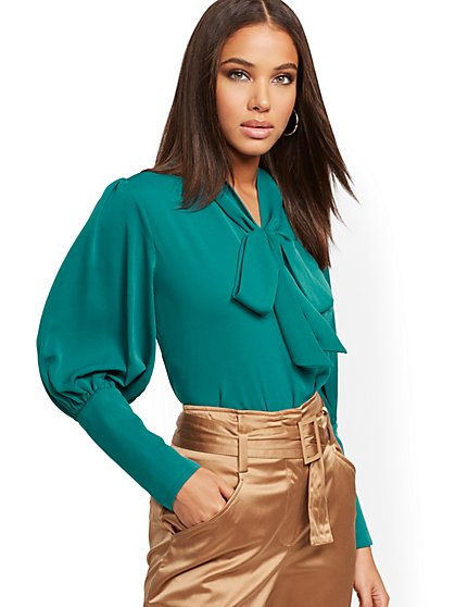 Petite Teal Wide-Cuff Bow Blouse - New York & Company