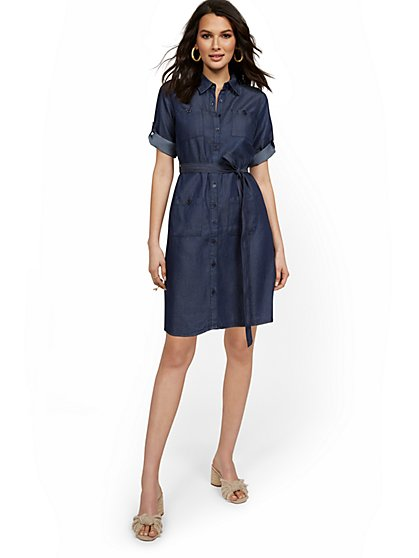Petite Tencel Four-Pocket Shirt Dress - New York & Company