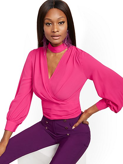 Petite Tie-Back Wrap Blouse - 7th Avenue - New York & Company