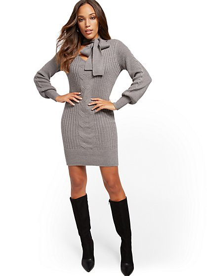 Petite Tie-Neck Sweater Dress - New York & Company
