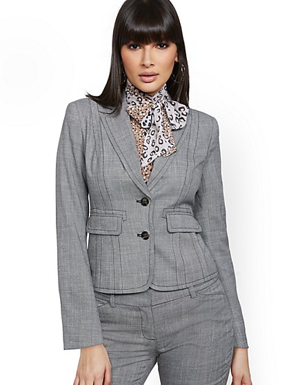 Petite Topstitched Two-Button Jacket - 7th Avenue - New York & Company