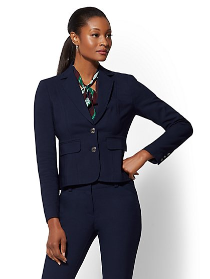 Petite Topstitched Two-Button Jacket - All-Season Stretch - 7th Avenue - New York & Company