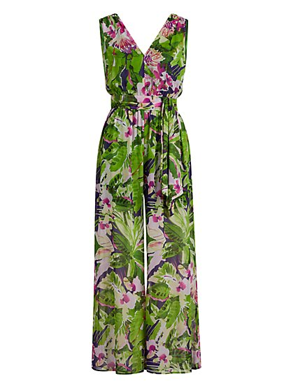 Petite Tropical-Print Jumpsuit - New York & Company