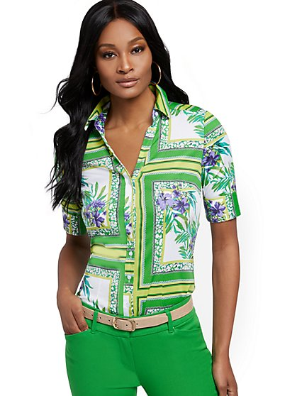 Petite Tropical-Print Madison Shirt - Secret Snap - 7th Avenue - New York & Company