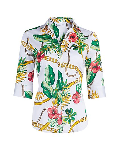 Petite Tropical-Print Madison Stretch Shirt - Secret Snap - 7th Avenue - New York & Company