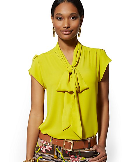 Petite Tulip-Sleeve Bow Blouse - 7th Avenue - New York & Company