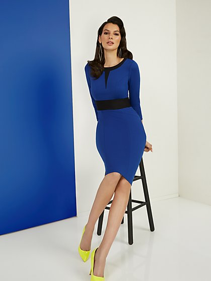 Petite Two-Toned Sheath Ponte Dress - Superflex - New York & Company