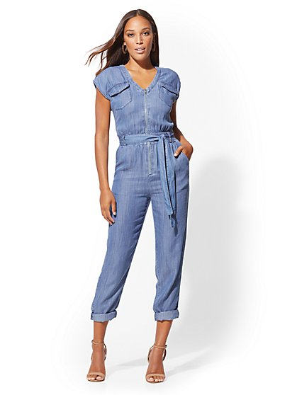 125d472bef28 NY C  Petite Ultra-Soft Chambray Utility Jumpsuit