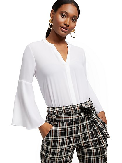 Petite V-Neck Bell-Sleeve Blouse - 7th Avenue - New York & Company