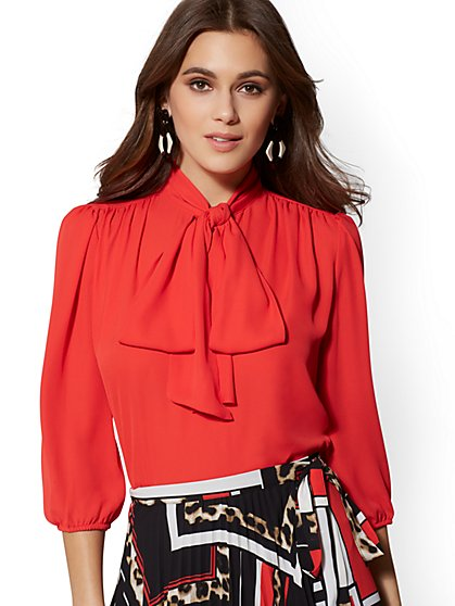 Petite V-Neck Bow Blouse - 7th Avenue - New York & Company