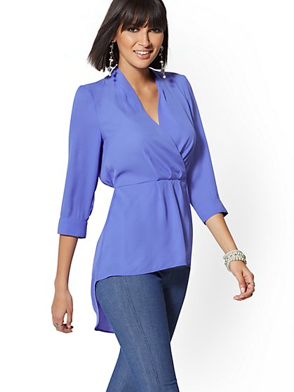 Petite V-Neck Hi-Lo Wrap Blouse - New York & Company