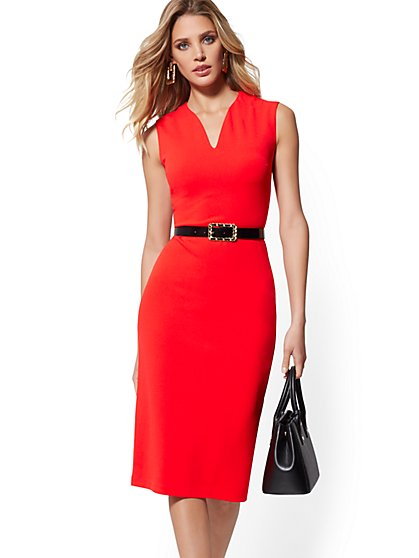 Petite V-Neck Sheath Dress - New York & Company