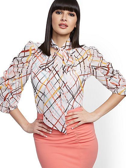 Petite Volume-Sleeve Bow Blouse - New York & Company