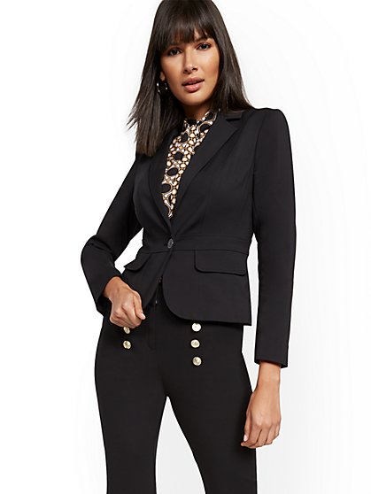 Petite Waist-Inset One-Button Jacket - Modern - All-Season Stretch - New York & Company