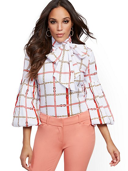 Petite White Bow-Accent Poplin Shirt - 7th Avenue - New York & Company