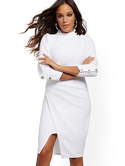 Petite White Button-Accent Ruched Sheath Dress - New York & Company