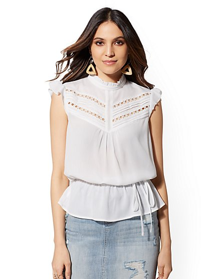 Petite White Embroidered Peplum Top - New York & Company