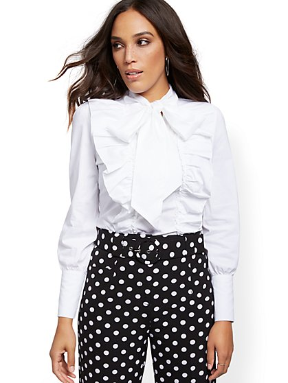 Petite White Poplin Ruffled Tie-Front Shirt - 7th Avenue - New York & Company
