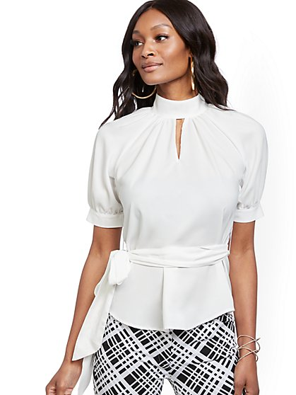 Petite White Puff-Sleeve Blouse - 7th Avenue - New York & Company