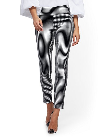 Petite Whitney High-Waisted Pull-On Ankle Pant - Gingham - New York & Company