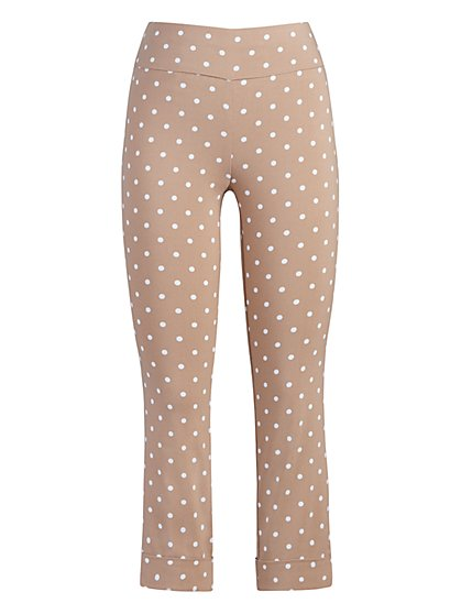 Petite Whitney High-Waisted Pull-On Capri Pant - Dot Print - New York & Company