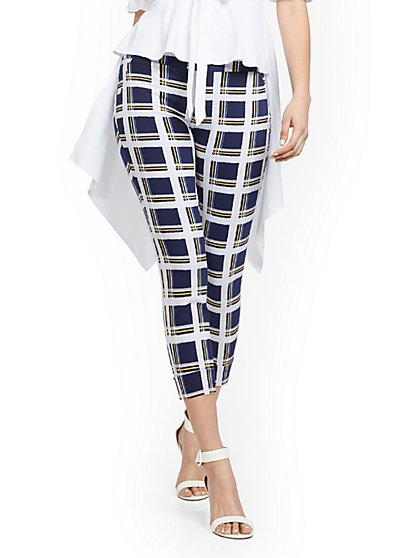 Petite Whitney High-Waisted Pull-On Capri Pant - Plaid - New York & Company