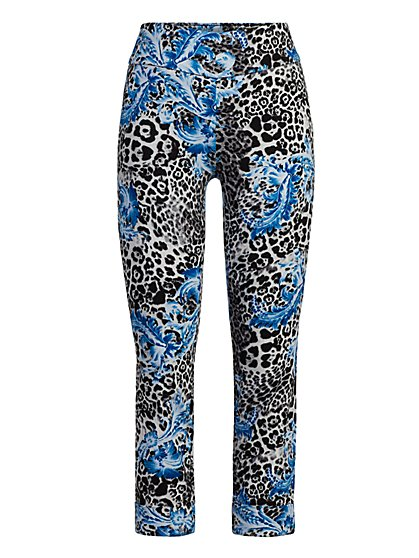 Petite Whitney High-Waisted Pull-On Capri Pant - Scroll Print - New York & Company