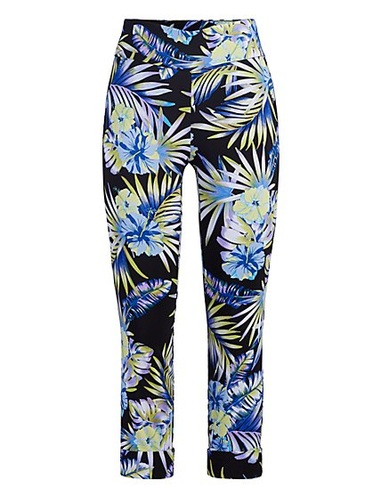 Petite Whitney High-Waisted Pull-On Capri Pant - Tropical Print - New York & Company